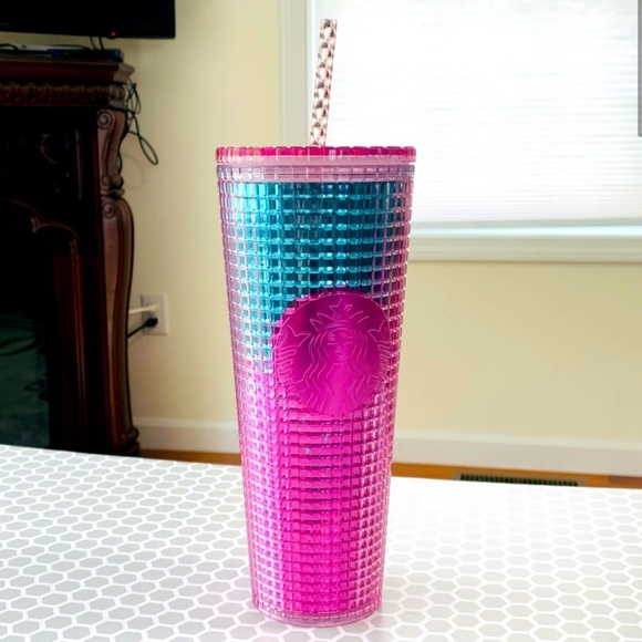 Starbucks Pink & Blue Grid Ombre Tumbler Cold Cup